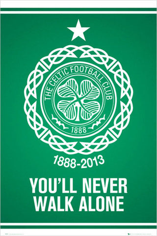 "Glasgow Celtic ""You'll Never Walk Alone"" Club Crest Logo Poster - GB Eye (UK)"