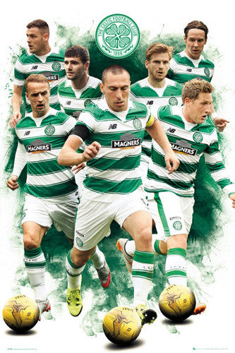 "Celtic FC ""Superstars"" (7 Players In Action) Official SPL Soccer Football Poster - GB Eye 2015/16"