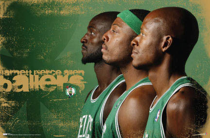 "Boston Celtics ""Ballers"" (Kevin Garnett, Paul Pierce, Ray Allen) Poster - Costacos 2007"