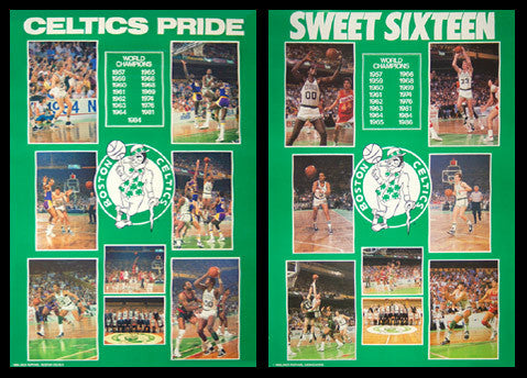 Boston Celtics 1984 and 1986 NBA Championship 2-Poster Vintage Original Combo Set