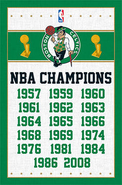 Boston Celtics 17-Time NBA Champions Commemorative Wall Poster - Costacos