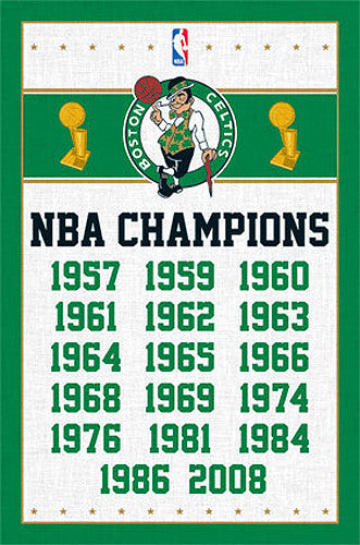 *SHIPS 5/25* Boston Celtics 17-Time NBA Champions Commemorative Wall Poster - Costacos