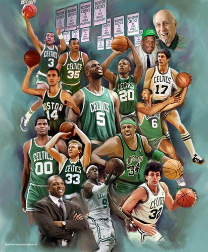 "Boston Celtics ""Glory"" Legends Collage by Wishum Gregory - L.E. Giclee Print"