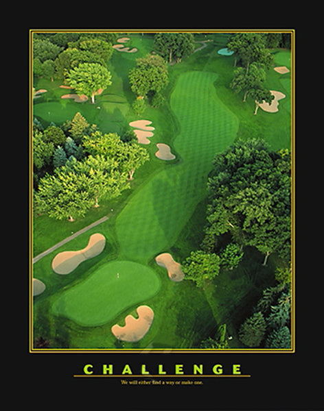 "Golf Course Aerial ""Challenge"" Inspirational Motivational Poster - Eurographics"