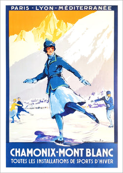 Figure Skating at Chamonix-Mont Blanc France c.1924 Vintage Poster Reproduction - Editions Clouets
