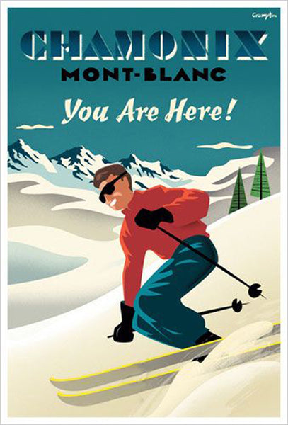 "Chamonix Mont-Blanc ""You Are Here!"" Vintage-Style Skiing Poster by Michael Crampton"