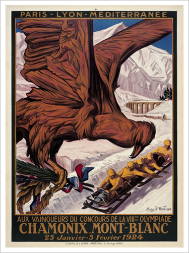Chamonix 1924 Winter Olympic Games Official Poster Reprint - Olympic Museum