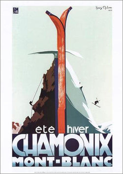"Chamonix France ""Summer-Winter"" (Skiing-Climbing) Vintage Poster Reprint - Editions Clouets"