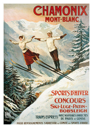 "Vintage Skiing ""Chamonix Double Jump"" (c.1900) Vintage Poster Reprint- Editions Clouets"