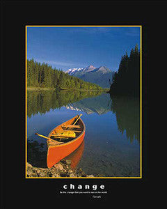 "Canoe on Mountain Stream ""Change"" Motivational Poster - Eurographics 16x20"