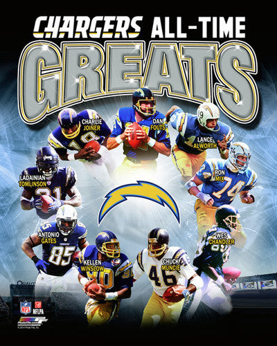 San Diego Chargers All-Time Greats (9 Legends) Premium NFL Poster Print - Photofile Inc.