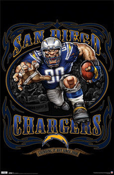 "San Diego Chargers ""Grinding it Out Since 1960"" NFL Theme Art Poster - Costacos Sports"