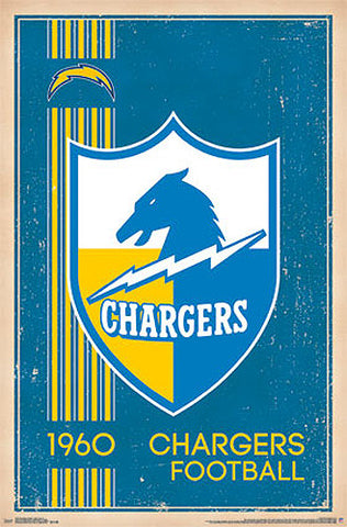 San Diego Chargers NFL Heritage Series Official Retro Logo c.1960 Poster - Costacos Sports