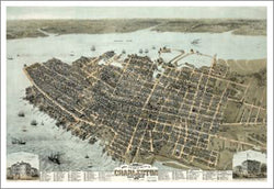 Charleston, South Carolina 1872 Classic Aerial Map Premium Poster Print - McGaw Graphics