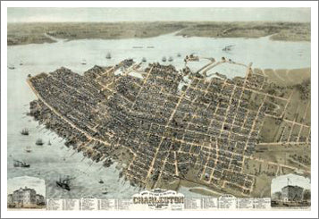 Charleston, South Carolina 1872 Classic Aerial Map Premium Poster Reproduction - McGaw Graphics