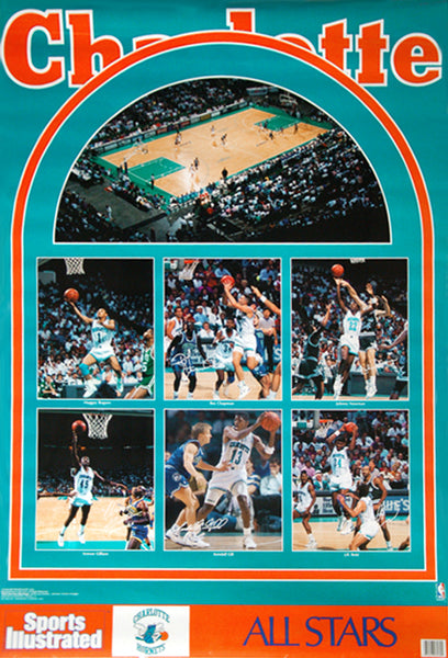 "Charlotte Hornets ""Superstars 1990"" Vintage Original Sports Illustrated NBA Poster - Marketcom Inc."