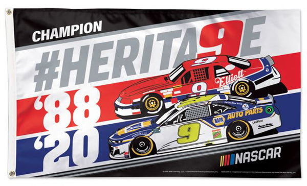"Chase and Bill Elliott ""Championship Heritage"" NASCAR #9 Official HUGE 3'x5' Deluxe Flag - Wincraft"