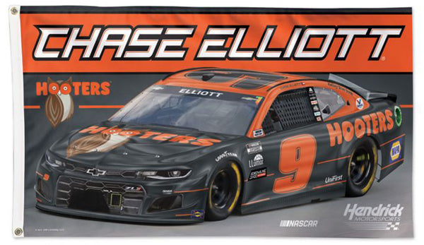 Chase Elliott NASCAR #9 (2021) HOOTERS Chevrolet ZL1 Official HUGE 3'x5' Deluxe Flag - Wincraft