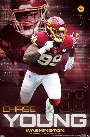 "Chase Young ""Bonecrusher"" Washington Football Team Official NFL Football Wall Poster - Trends International"