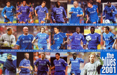"Chelsea F.C. ""Blues 2001"" 19-Players In Action Poster - U.K. 2001"