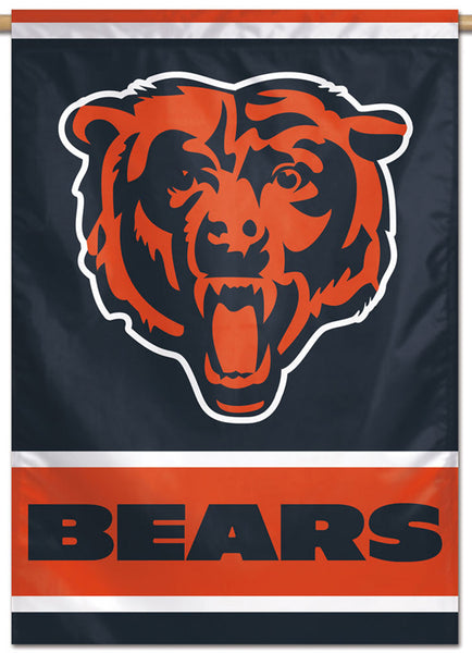 Chicago Bears Roaring-Bear-Style Official NFL Team Logo and Script Style Team Wall BANNER - Wincraft Inc.