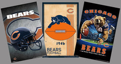 COMBO: Chicago Bears NFL Football 3-Poster Theme Art Team Logo Combo Set Special