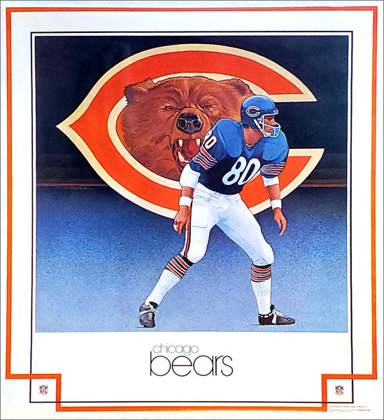 "Chicago Bears ""Roar"" NFL Team Theme Art Poster by Keith Batcheller - Damac Inc. 1979"