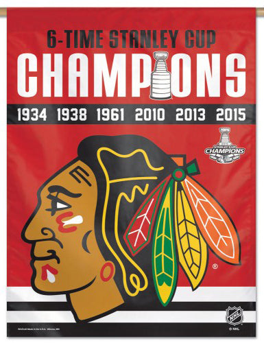 Chicago Blackhawks 6-Time Stanley Cup Champions Commemorative 27x39 Wall Banner - Wincraft