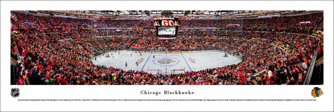 Chicago Blackhawks United Center NHL Game Night Panoramic Poster Print - Blakeway Worldwide
