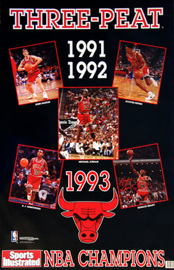 "Chicago Bulls ""Three-Peat"" 1993 NBA Champions Commemorative Poster - Marketcom Sports Illustrated"