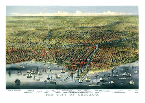 Chicago, Illinois 1874 Classic Aerial Panorama Premium Poster Reproduction  (Parsons and Atwater)