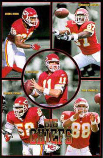 "Kansas City ""Big Chiefs"" (Rison, Vanover, Grbac, Thomas, Gonzalez) Poster - Costacos 1998"