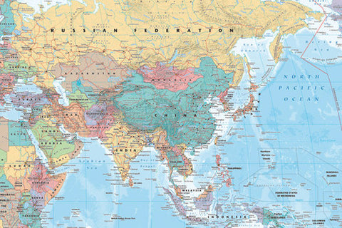 Wall Map Of Asia And The Middle East (China, Russia, India, Etc