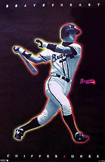 "Chipper Jones ""Bravesheart"" Atlanta Braves Poster - Costacos 1996"