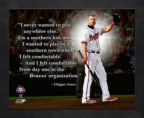 "Chipper Jones ""The South Forever"" Atlanta Braves FRAMED 16x20 PRO QUOTES PRINT - Photofile"