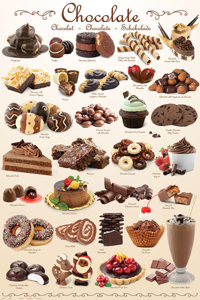 The Chocolate Poster (30 Chocolate Dessert Treats) - Eurographics Inc.