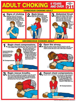 Adult Choking First Aid Wall Chart Poster (2013 ARC Guidelines)- Fitnus Corp.