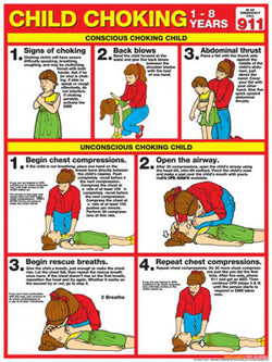 Child Choking First Aid Wall Chart Poster (2013 ARC Guidelines)- Fitnus Corp.