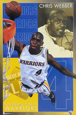 "Chris Webber ""Elite"" Golden State Warriors NBA Basketball Action Poster - Costacos Brothers 1994"