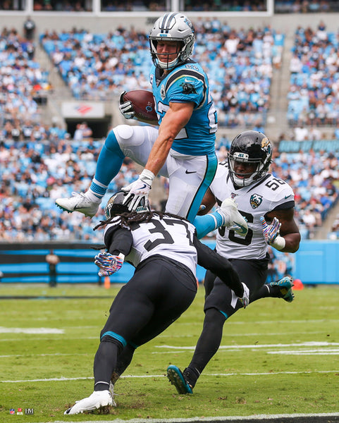 "Christian McCaffrey ""Up And Away"" Carolina Panthers Premium 16x20 NFL Poster Print- Highland Mint"