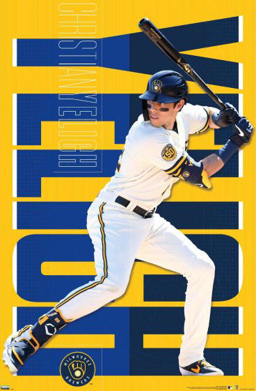 "Christian Yelich ""Masher"" Milwaukee Brewers MLB Action Poster - Trends International 2020"