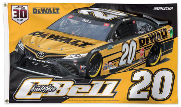Christopher Bell DeWalt Toyota #20 Official NASCAR Deluxe-Edition 3'x5' Banner Flag - Wincraft 2021
