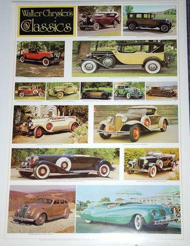 Walter Chrysler Classic Cars 1926-1940 (15 Models) Poster - Automobile Quarterly 1978
