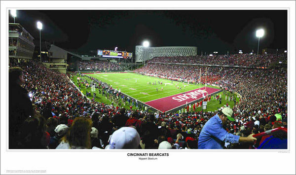 Cincinnati Bearcats Nippert Stadium Game Night Panoramic Poster Print - Sport Photos