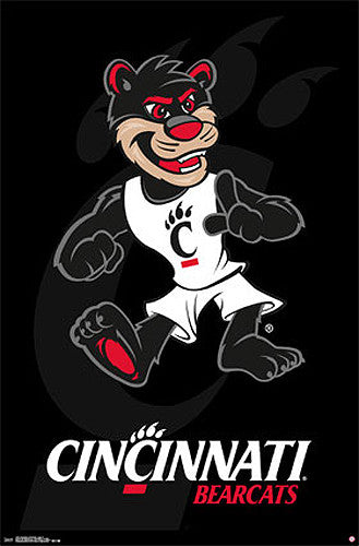 University of Cincinnati Bearcats Official NCAA Team Logo Poster - Costacos 2014