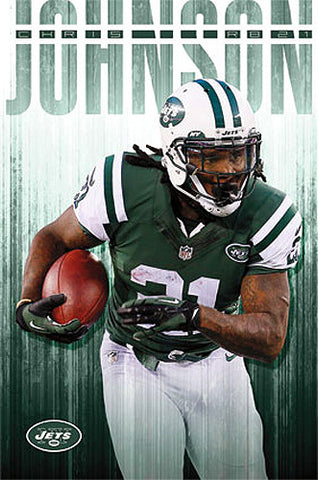 "Chris Johnson ""Green Machine"" New York Jets NFL Action Poster - Costacos 2014"