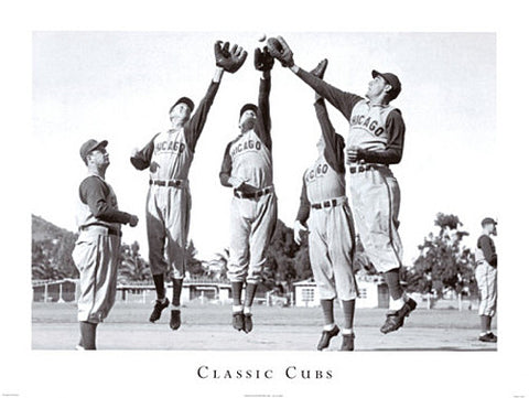 "Chicago Cubs Baseball ""Classic Cubs"" (c.1946) Black-and-White Poster - ISI"