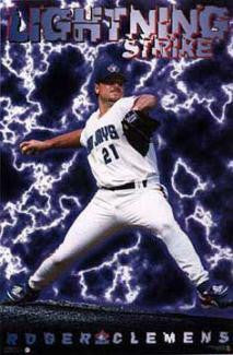 "Roger Clemens ""Lightning Strike""  Toronto Blue Jays MLB Action Poster - Costacos Brothers 1997"