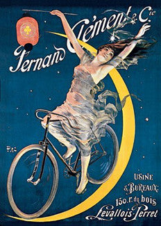 "Cycles Clement ""Bike the Moon"" c.1897 Vintage Poster Reprint"