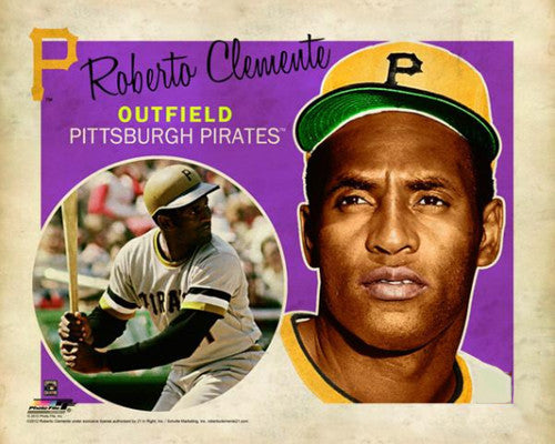 "Roberto Clemente ""Retro SuperCard"" Pittsburgh Pirates Premium Poster Print - Photofile 16x20"